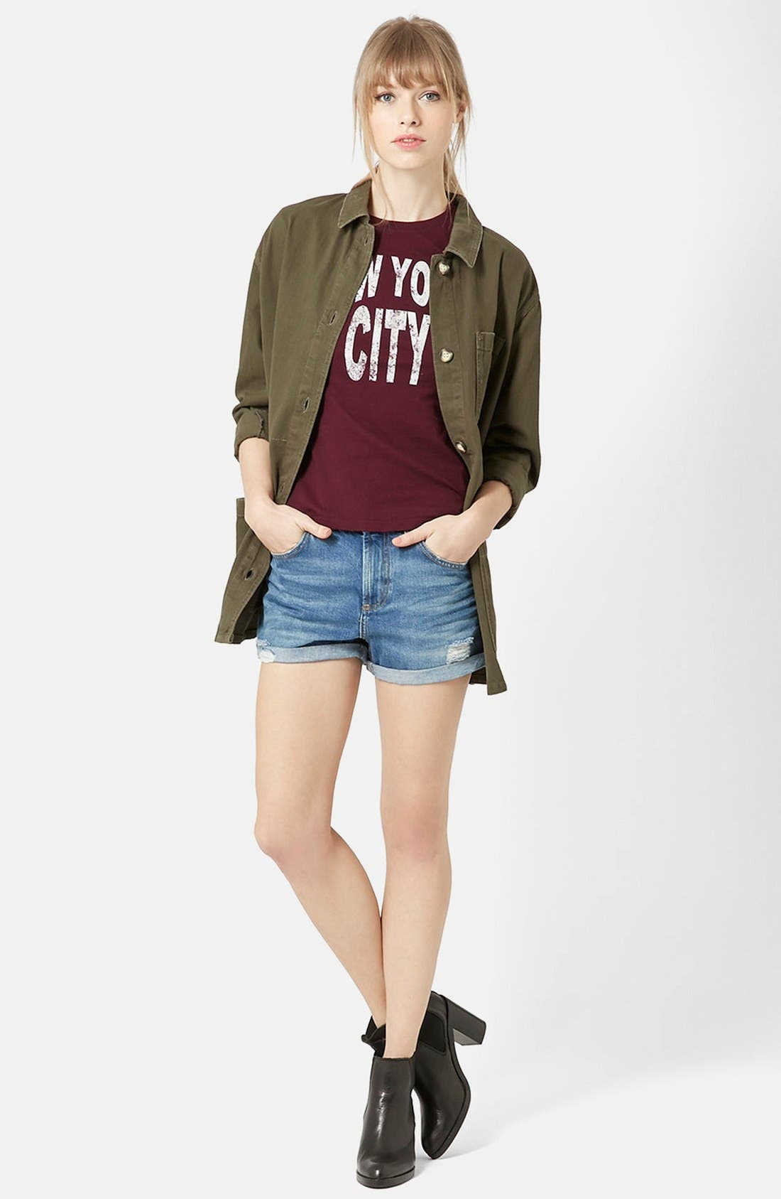 Alternate Image 5  - Topshop Moto 'Rosa' Cuffed Denim Shorts