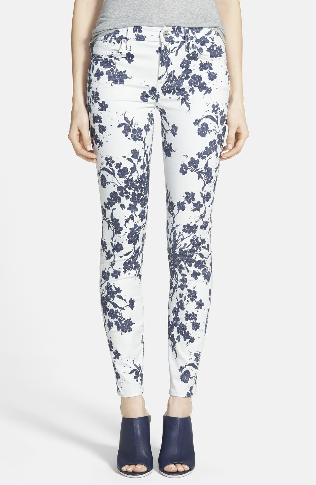Alternate Image 1  - 7 For All Mankind® 'The Ankle Skinny' Floral Jeans (Indigo Freesia Print)