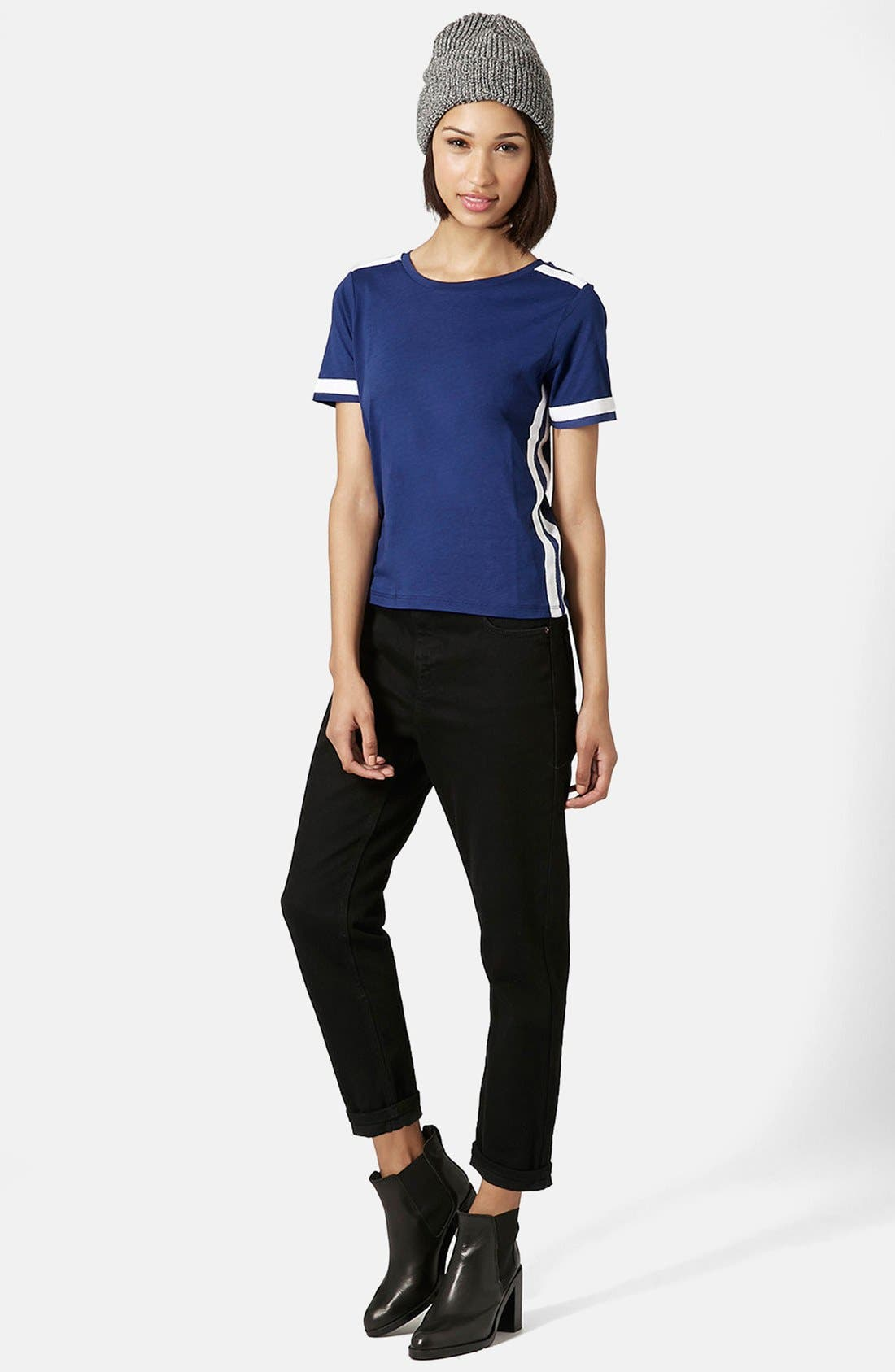 Alternate Image 5  - Topshop Grosgrain Trim Crewneck Tee