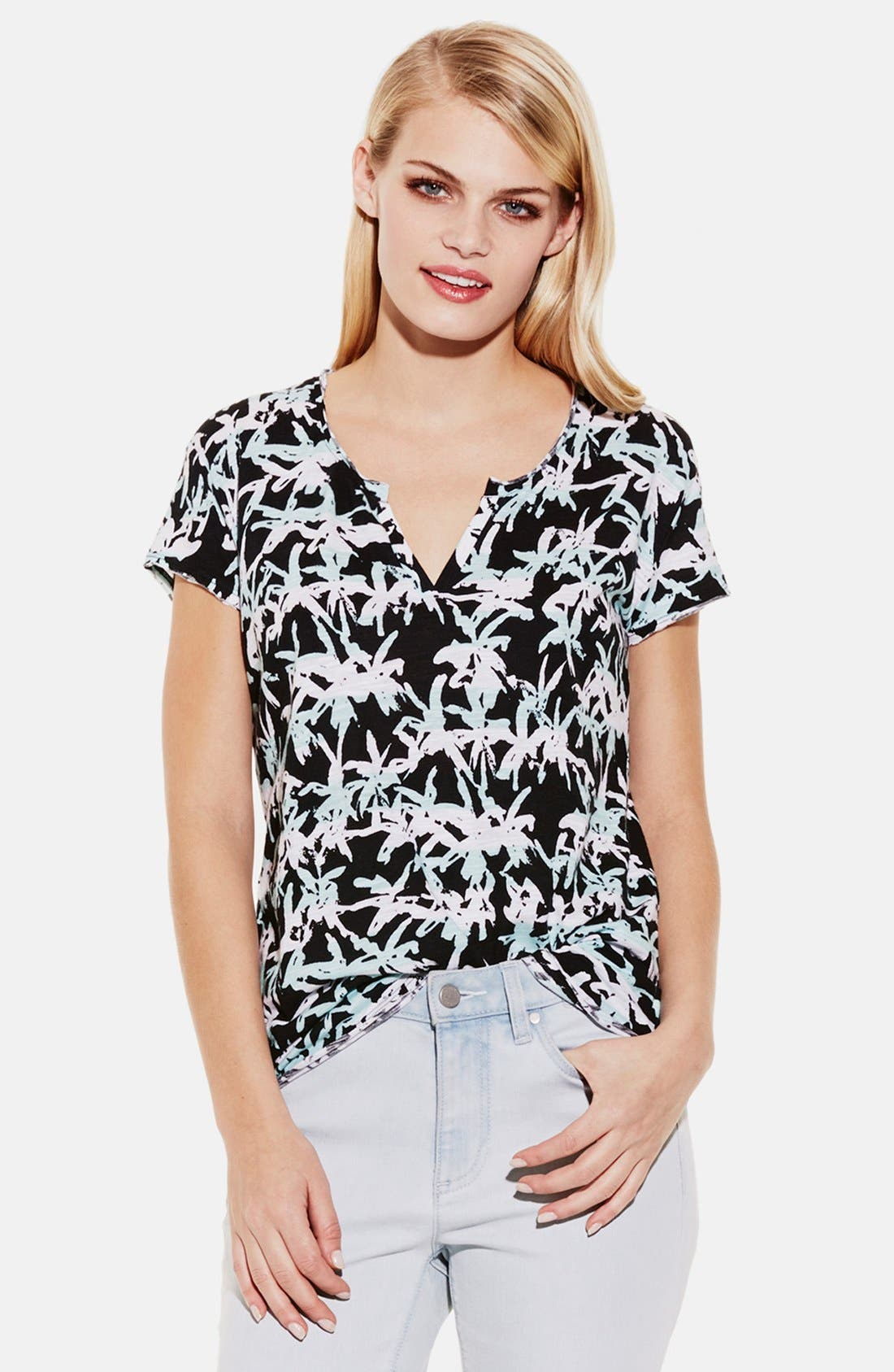 Alternate Image 1 Selected - Two by Vince Camuto 'Tropic Effect' Split Neck Tee