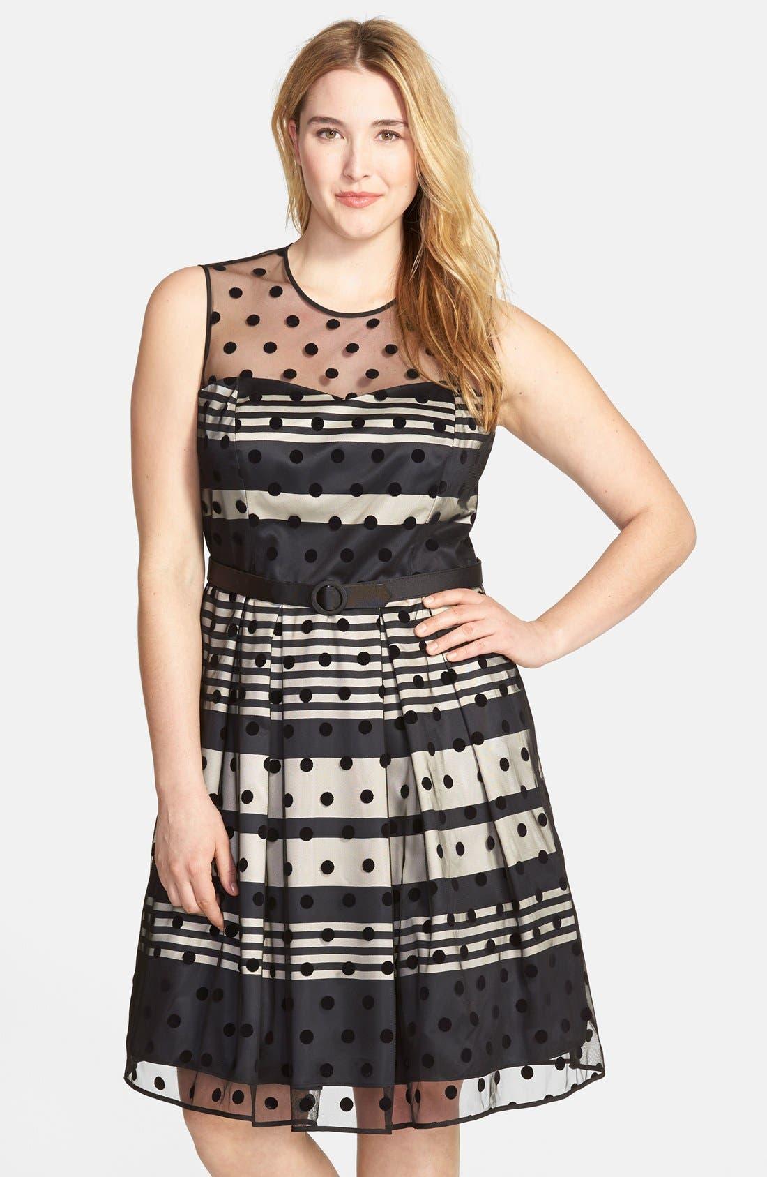 Main Image - Eliza J Stripe Fit & Flare Dress with Dot Mesh Overlay (Plus Size)