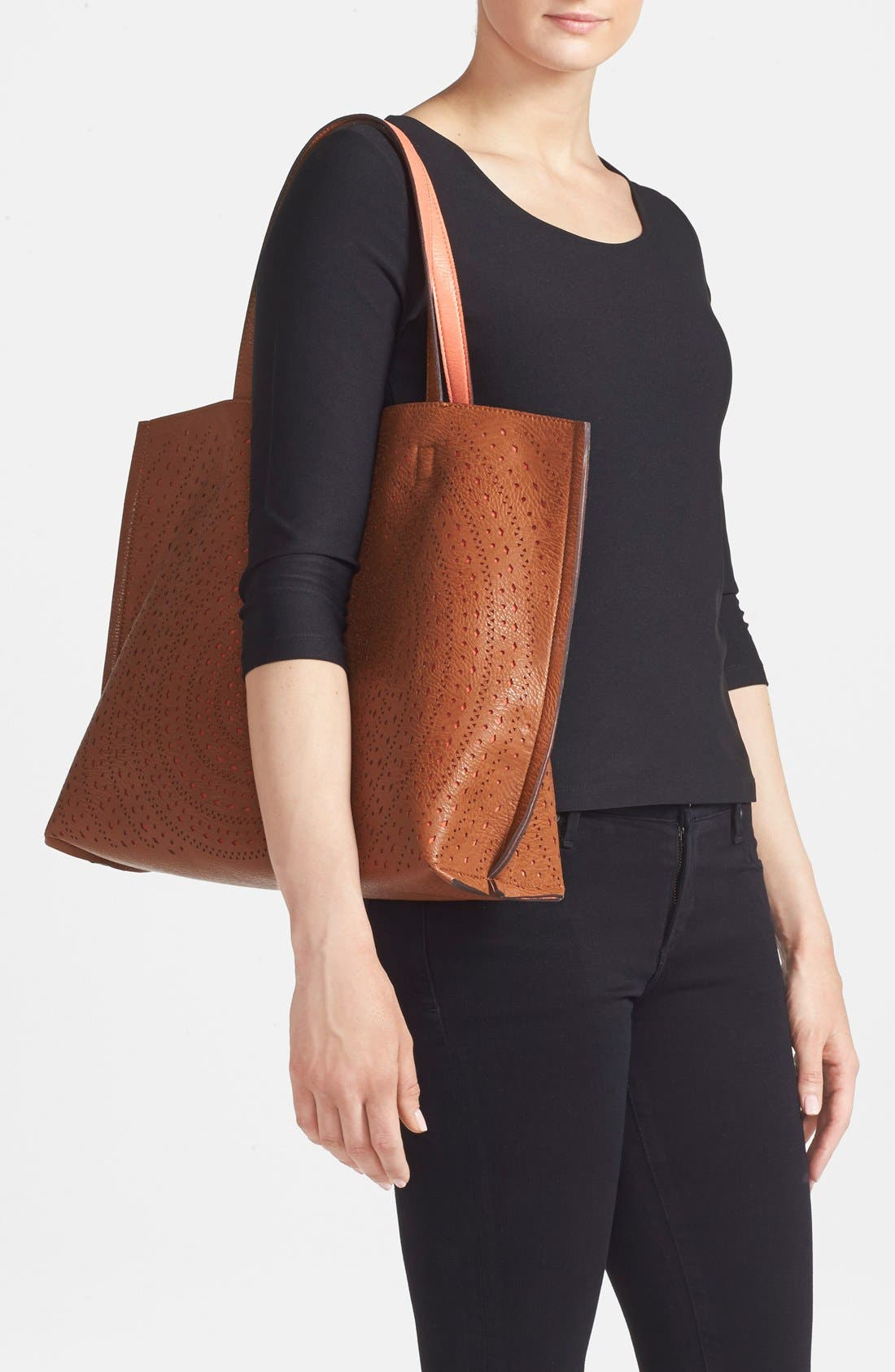 Alternate Image 2  - Street Level Laser Cut Reversible Faux Leather Tote