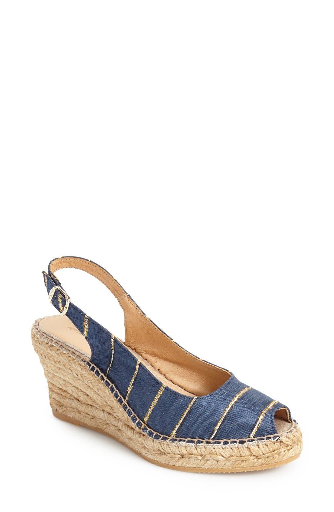 TONI PONS 'Carmina' Silk Slingback Wedge Sandal