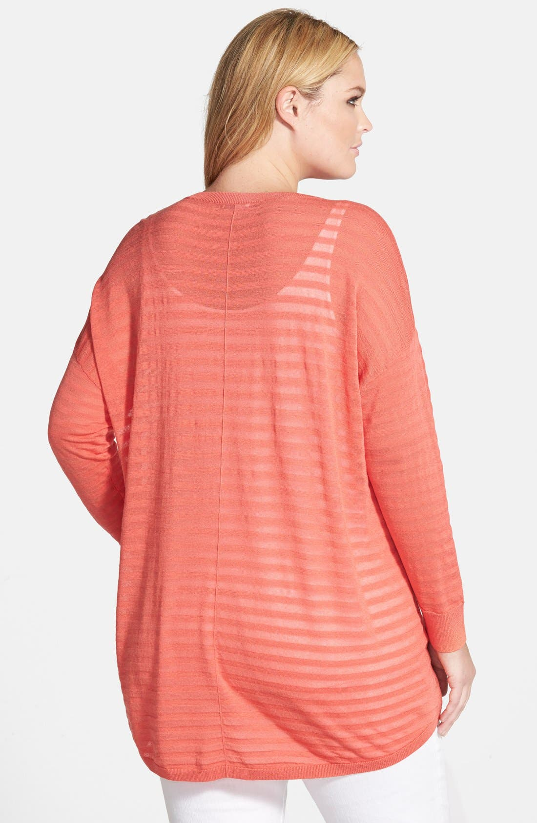 Alternate Image 2  - Halogen® Sheer Stripe High/Low Pullover (Plus Size)