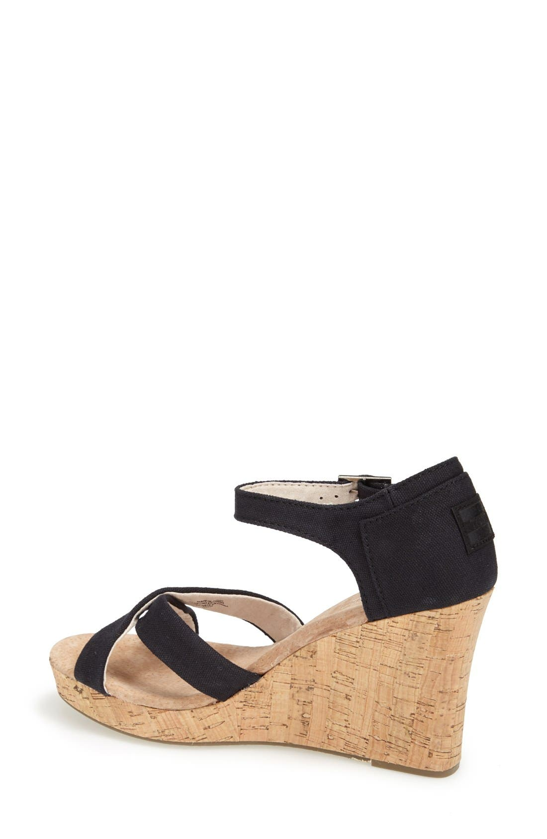 Alternate Image 2  - TOMS Canvas Ankle Strap Wedge Sandal (Women)