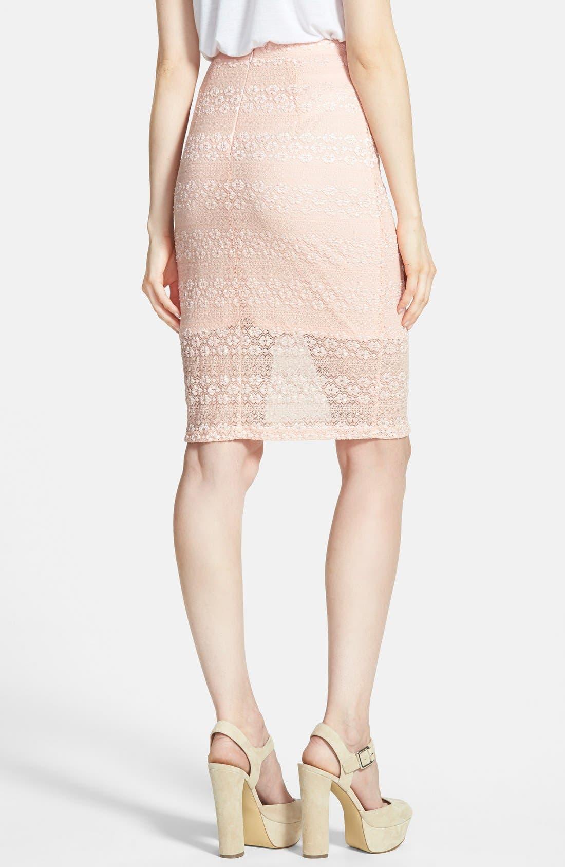 Alternate Image 2  - Painted Threads Lace Midi Skirt (Juniors)