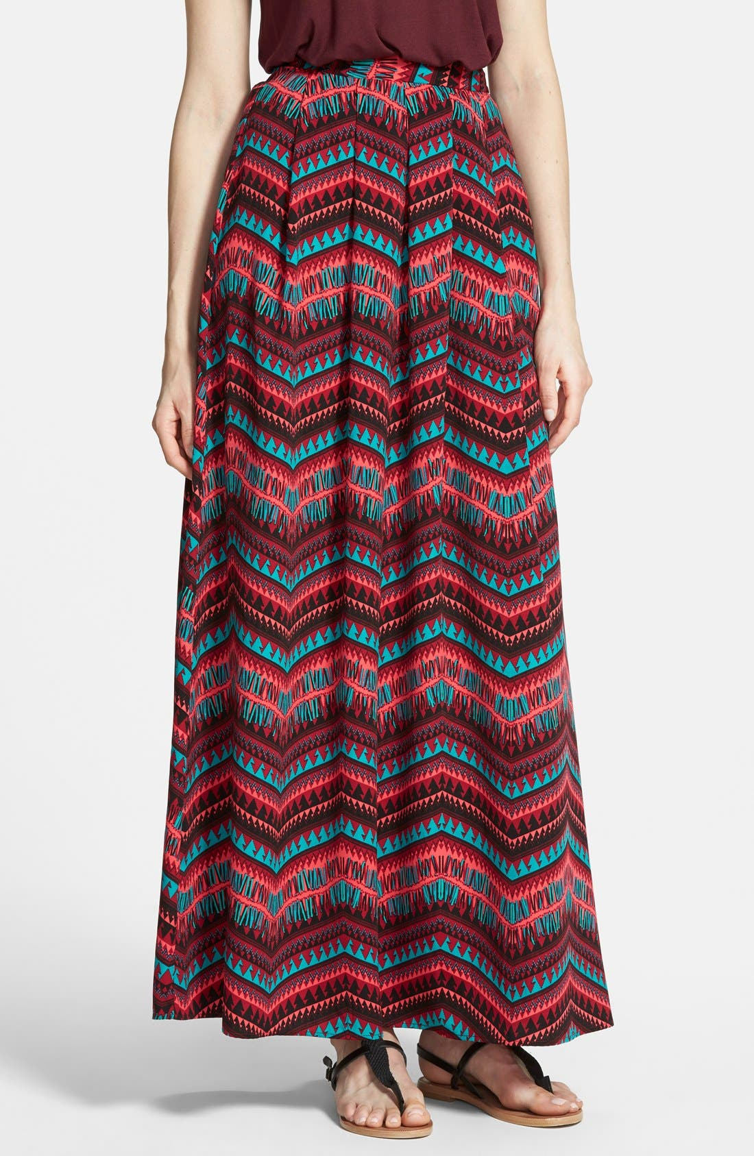 Alternate Image 1 Selected - Painted Threads Pleat Maxi Skirt (Juniors)