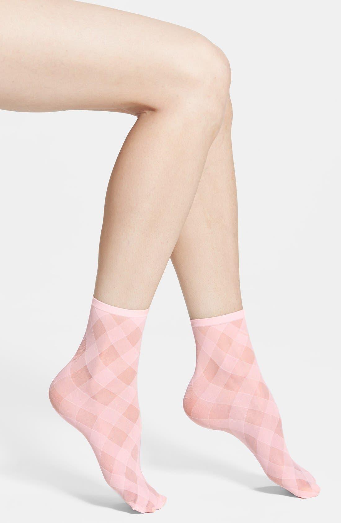 Main Image - Hue 'Diagonal Ribbon' Sheer Ankle Socks