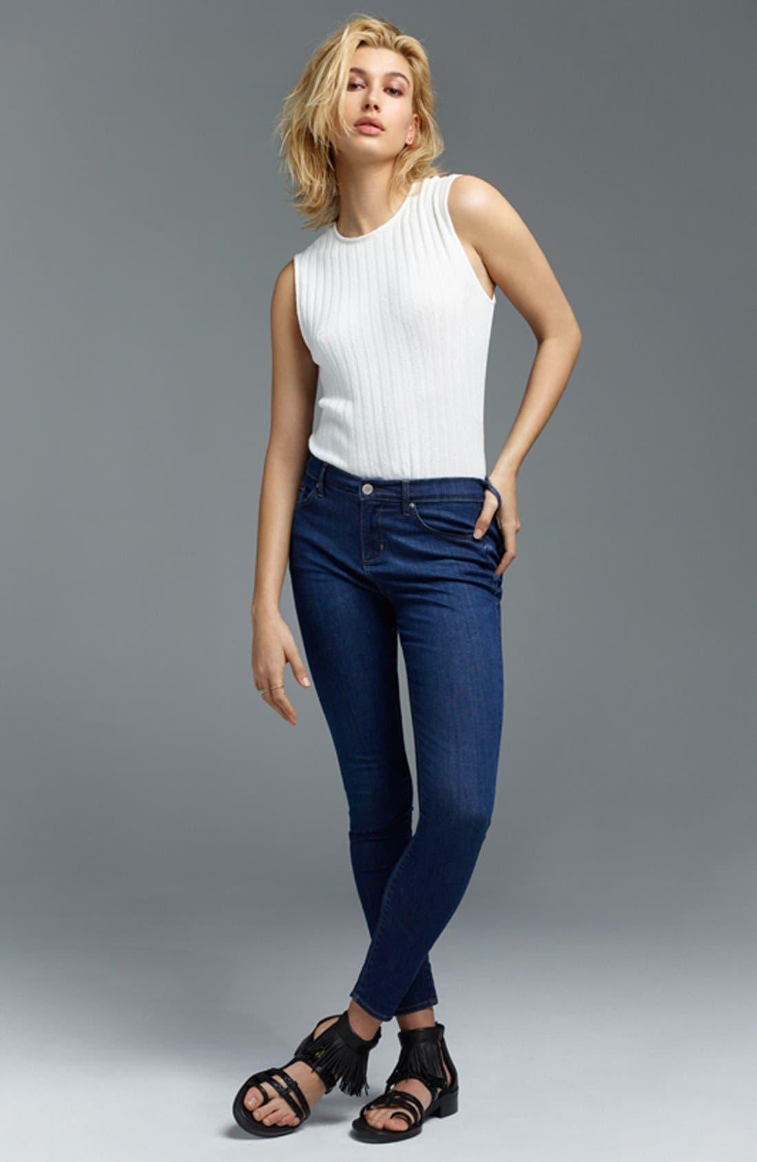 Alternate Image 6  - Topshop Moto 'Leigh' Crop Skinny Jeans (Blue Black) (Regular, Short & Long)