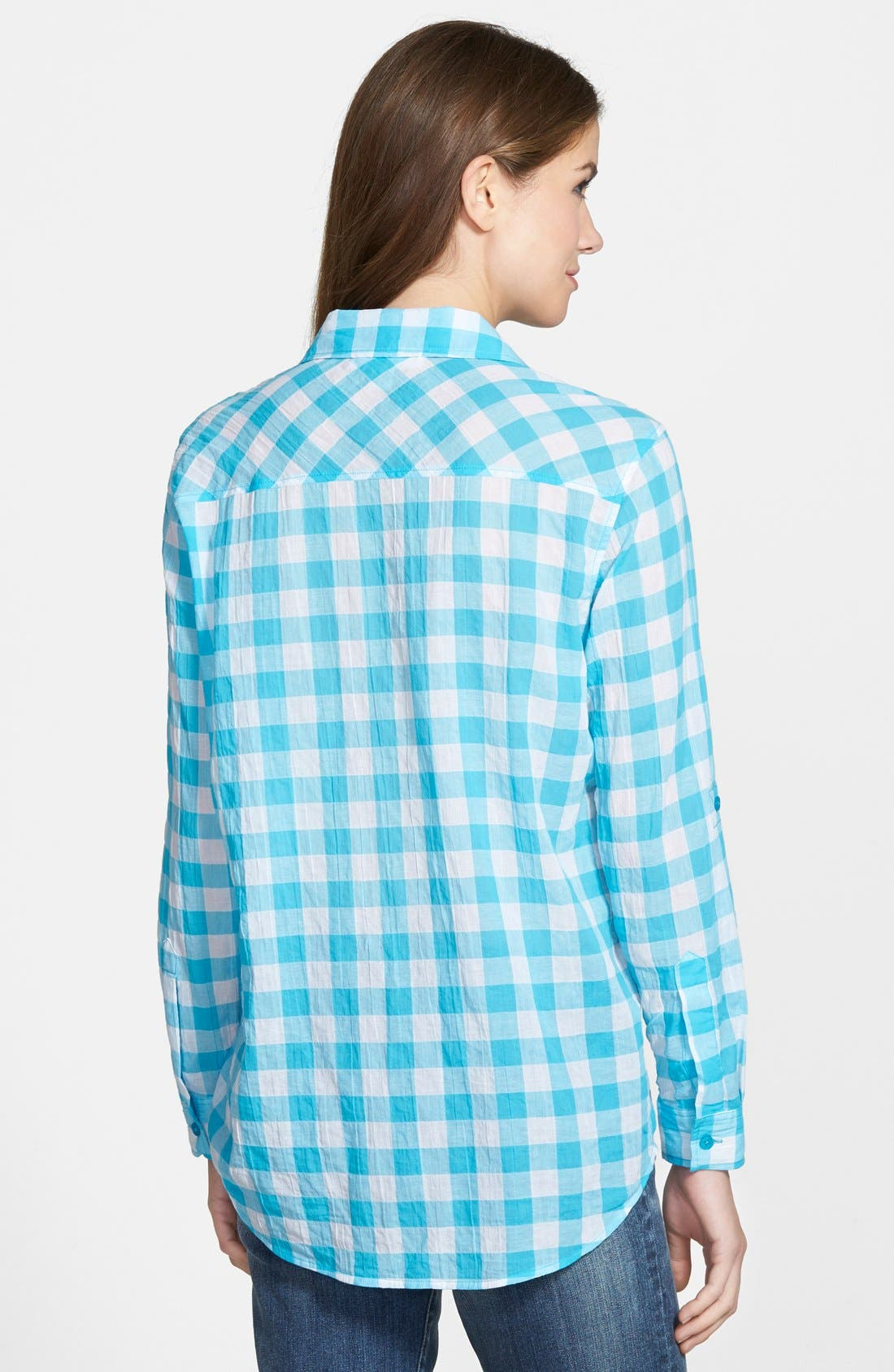 Alternate Image 2  - MICHAEL Michael Kors Roll Sleeve Check Plaid Shirt (Regular & Petite)
