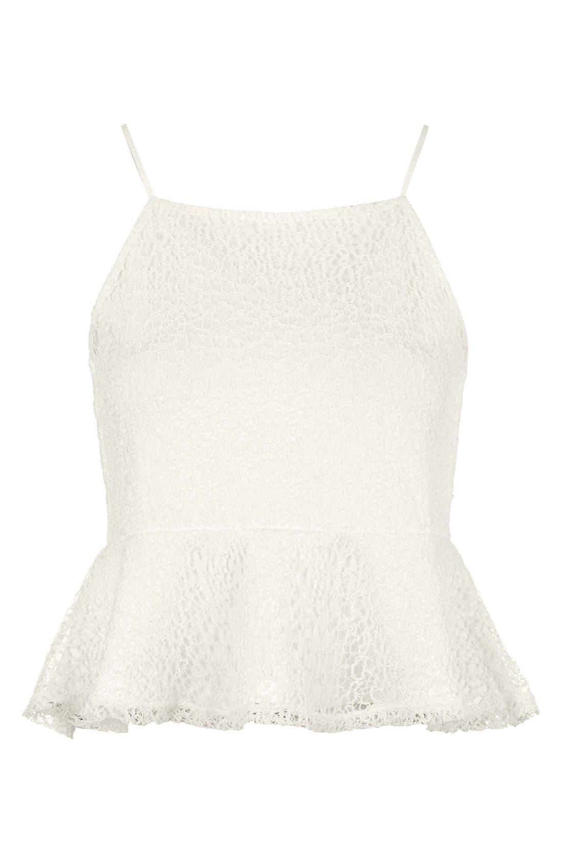 Alternate Image 3  - Topshop Lace Peplum Camisole
