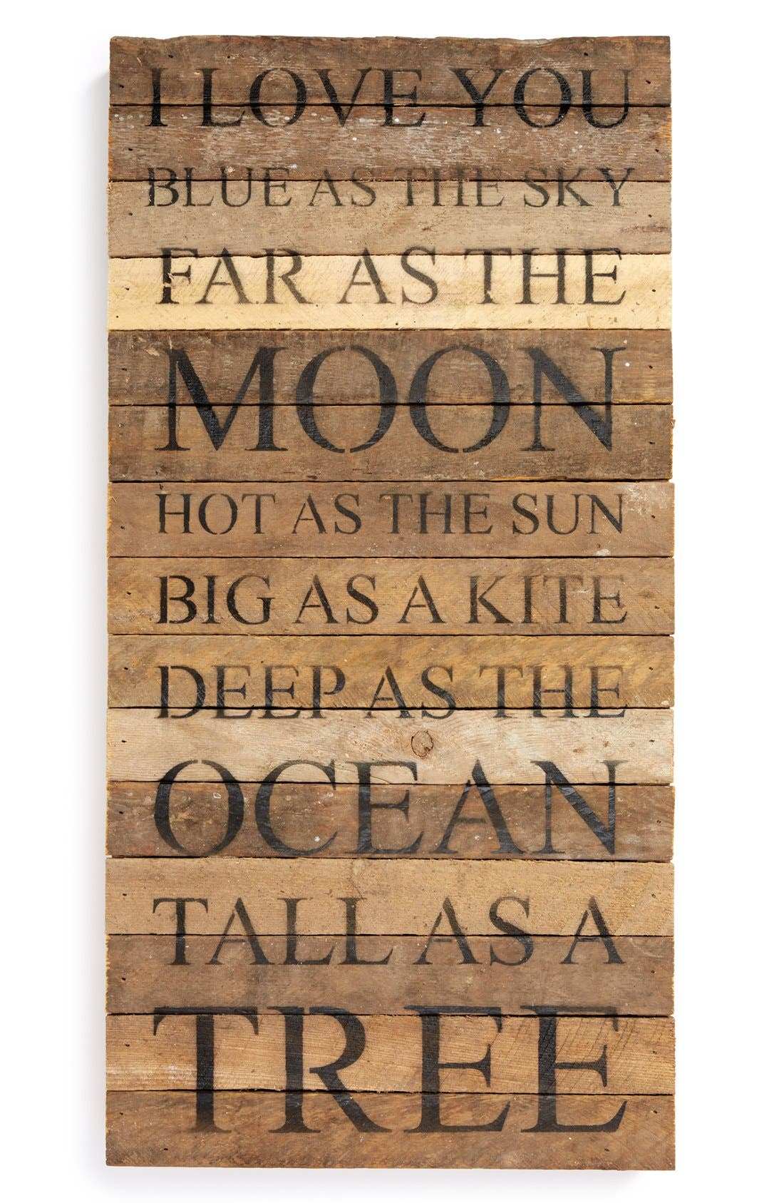 Main Image - Second Nature By Hand 'I Love You Blue as the Sky Far as the Moon' Repurposed Wood Wall Art