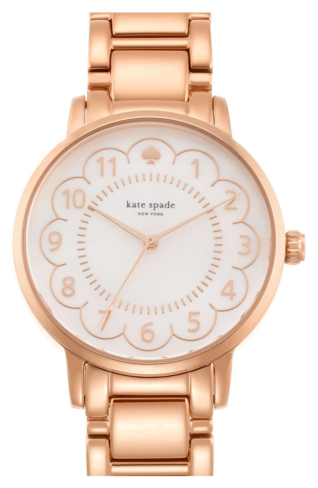 Alternate Image 1 Selected - kate spade new york 'gramercy' scalloped dial bracelet watch, 34mm