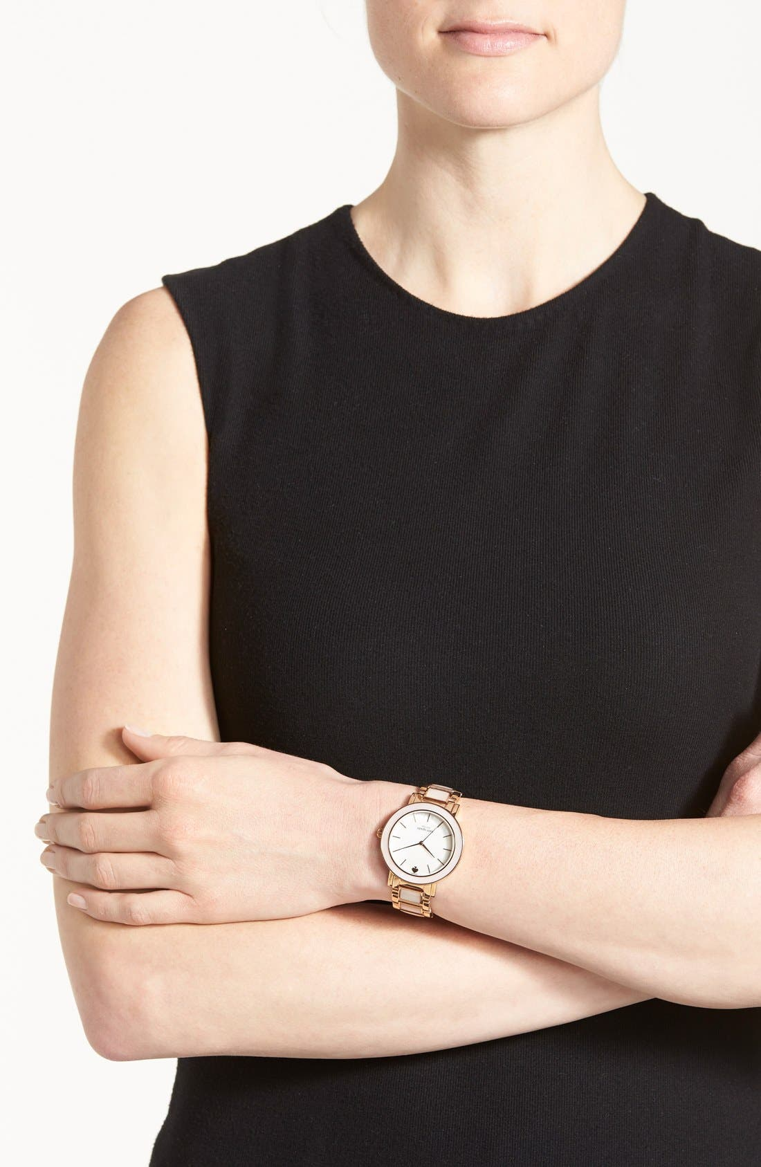 Alternate Image 4  - kate spade new york 'gramercy grand' mother-of-pearl bracelet watch, 38mm
