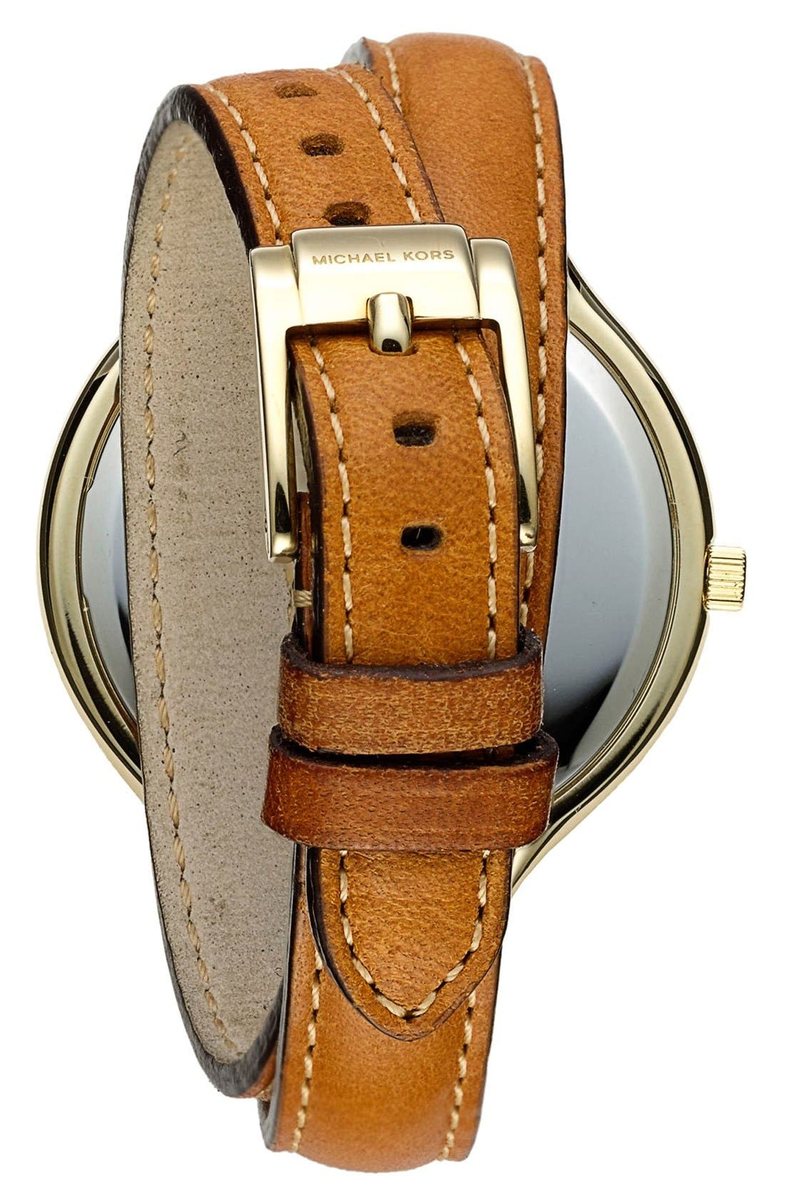 Alternate Image 2  - Michael Kors Double Wrap Leather Strap Watch, 42mm