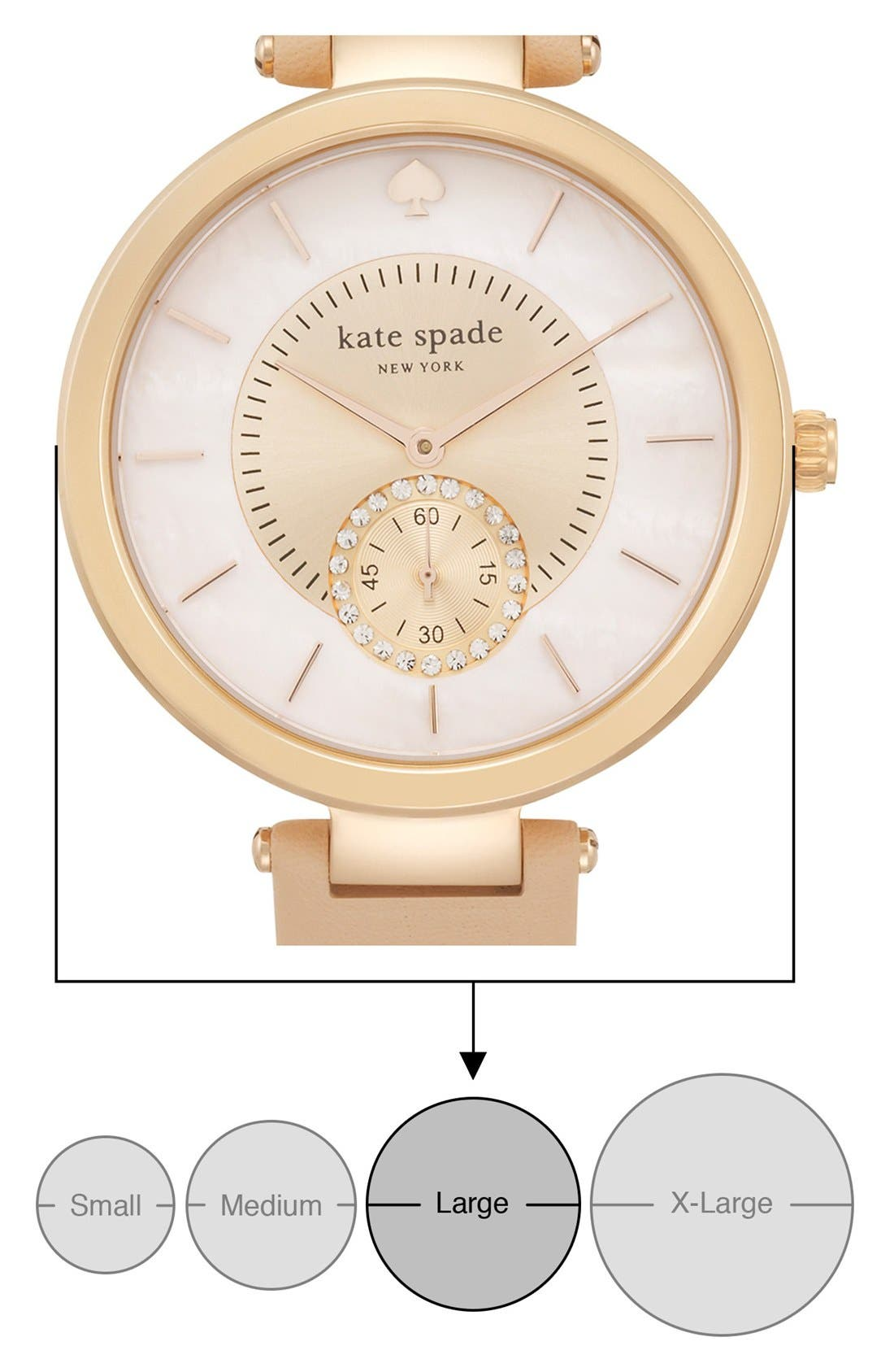 Alternate Image 5  - kate spade new york 'perry' crystal accent leather strap watch, 38mm