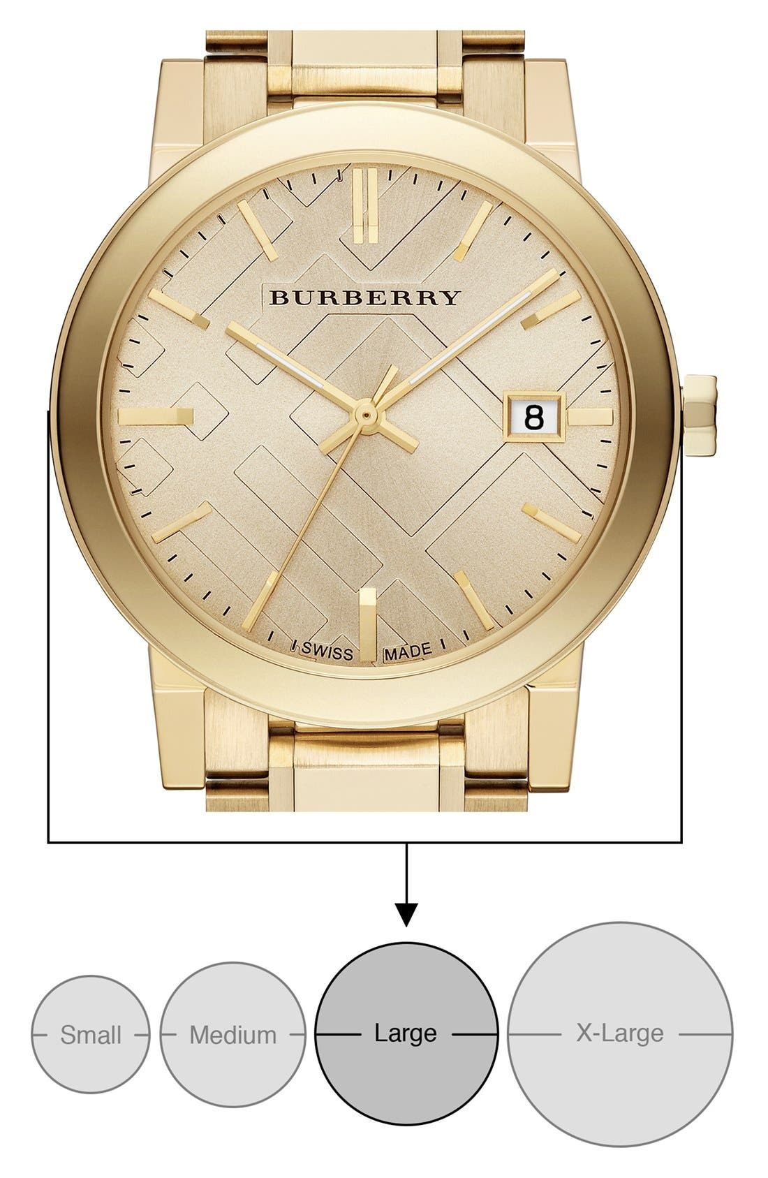 Alternate Image 6  - Burberry Check Stamped Round Bracelet Watch, 38mm
