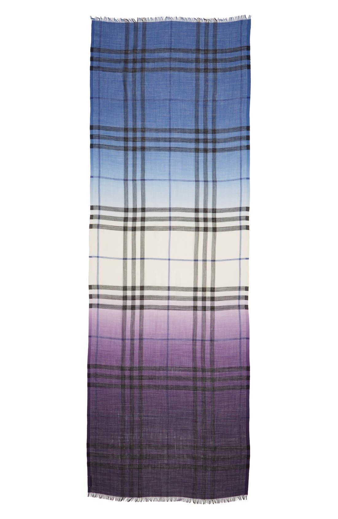 Alternate Image 2  - Burberry Ombré Check Wool & Silk Scarf