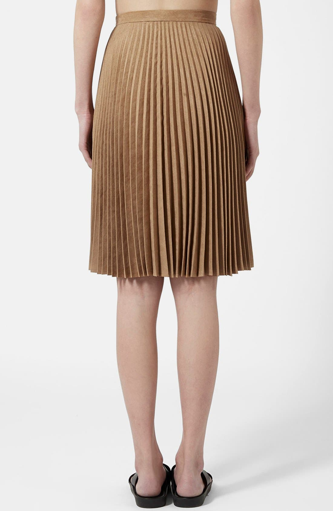 Alternate Image 2  - Topshop Pleated Faux Suede Skirt