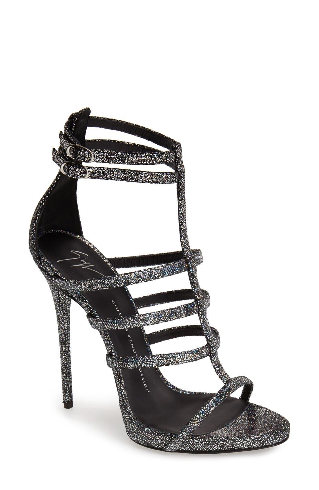 Alternate Image 1 Selected - Giuseppe Zanotti Metallic Strappy Sandal (Women)