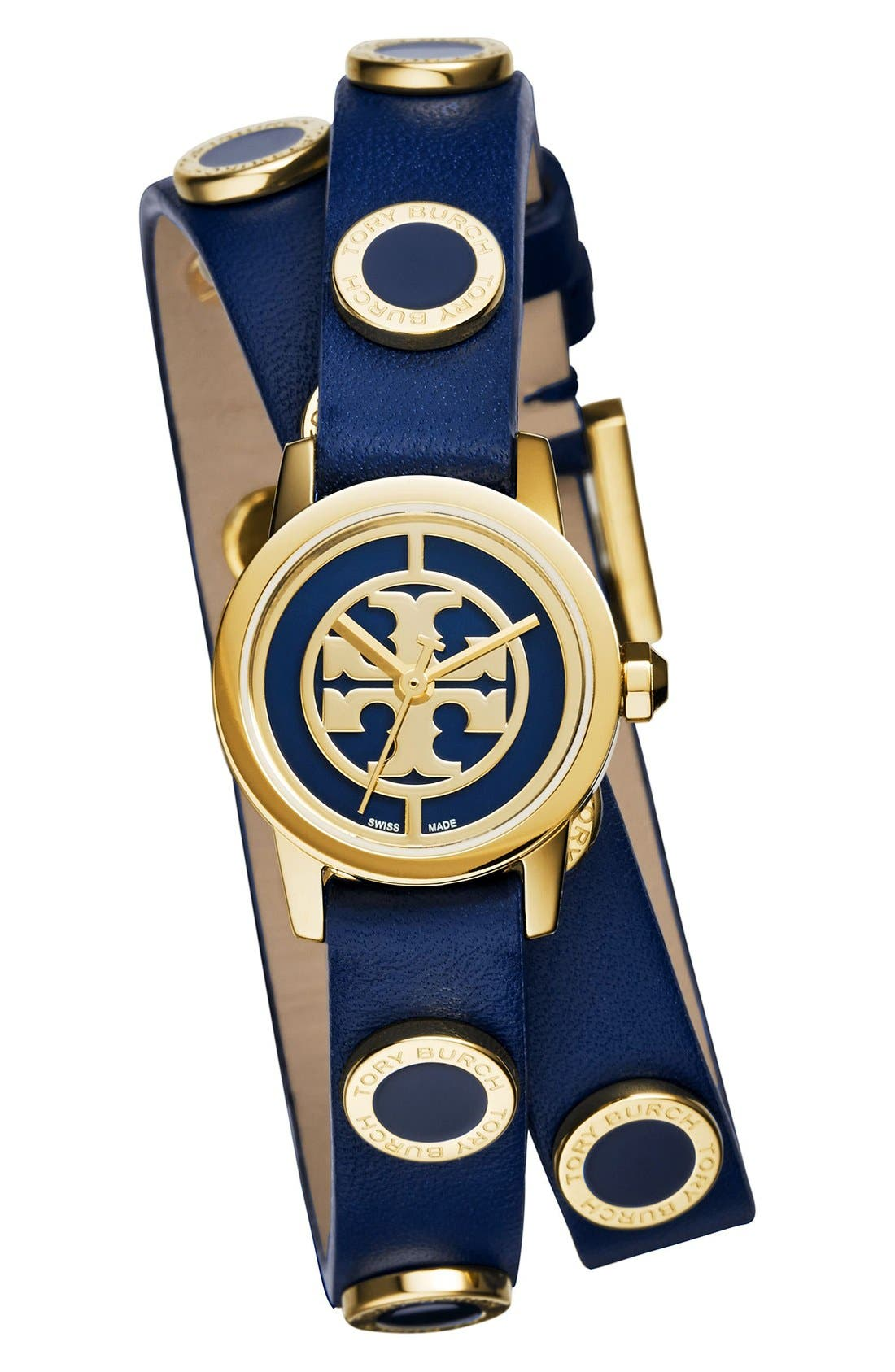 Alternate Image 1 Selected - Tory Burch 'Reva Mini' Logo Dial Double Wrap Leather Strap Watch, 21mm