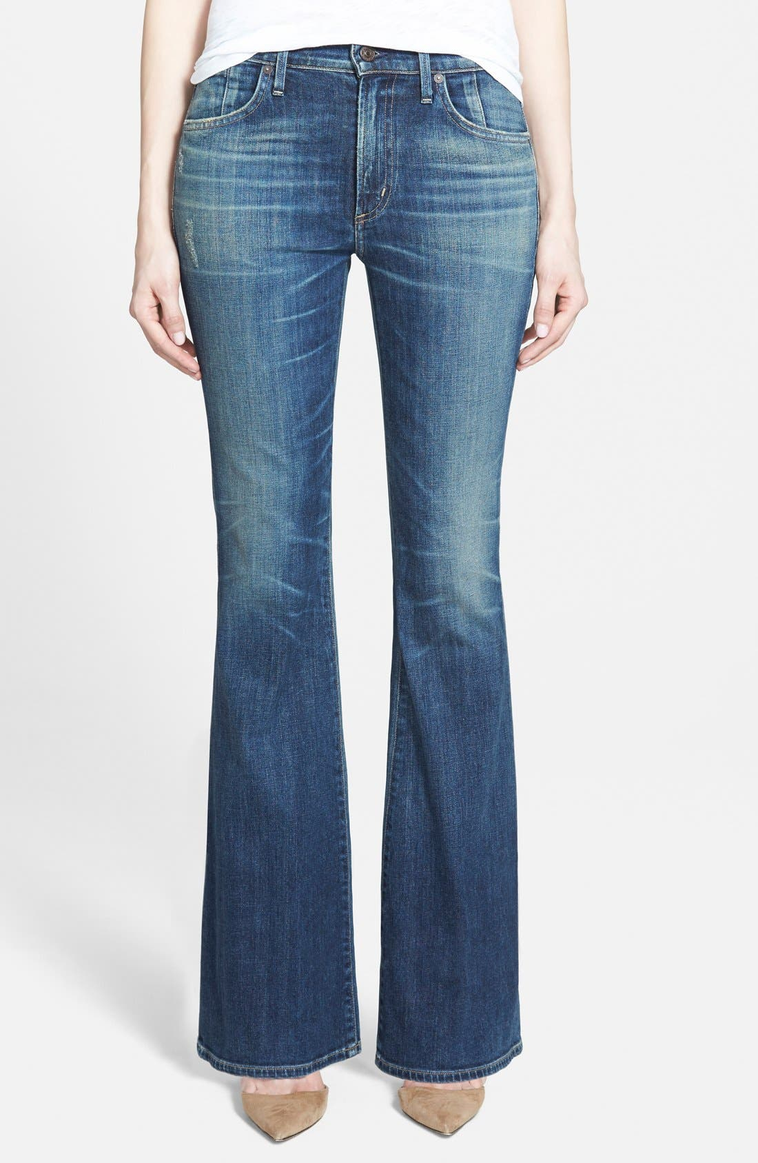 Alternate Image 1 Selected - Citizens of Humanity 'Fleetwood' High Rise Flare Jeans (Harvest Moon) (Petite)