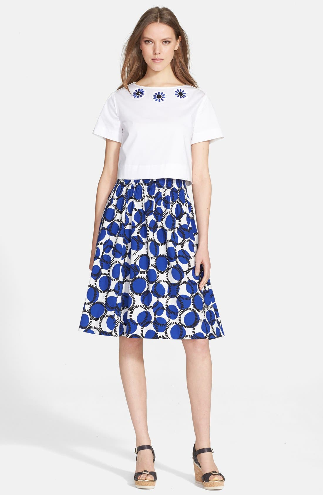 Alternate Image 3  - kate spade new york 'stamped dots blaire' print flare skirt
