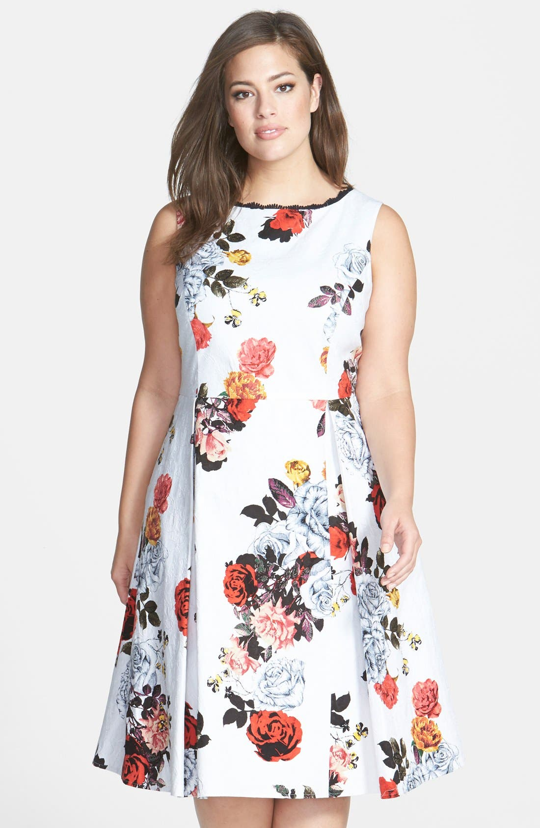 Main Image - Adrianna Papell Rose Print Jacquard Fit & Flare Dress (Plus Size)