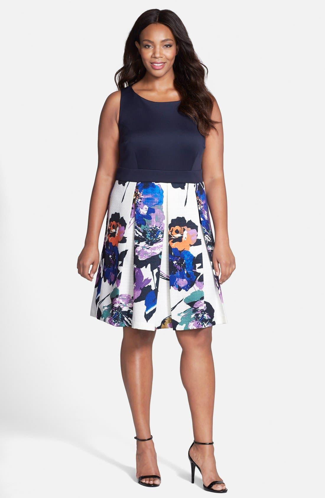 Alternate Image 3  - Gabby Skye Mixed Media Fit & Flare Dress (Plus Size)
