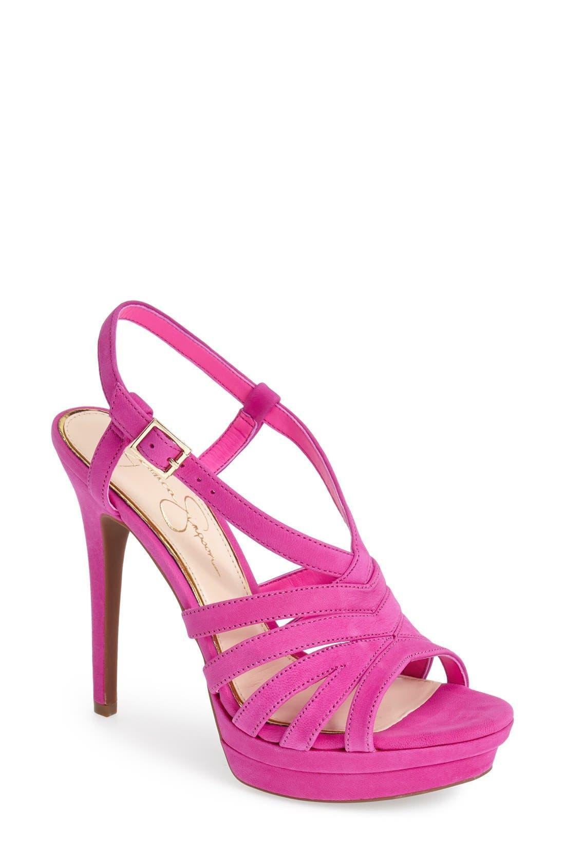 Alternate Image 1 Selected - Jessica Simpson 'Peace' Suede Peep Toe Platform Sandal (Women)