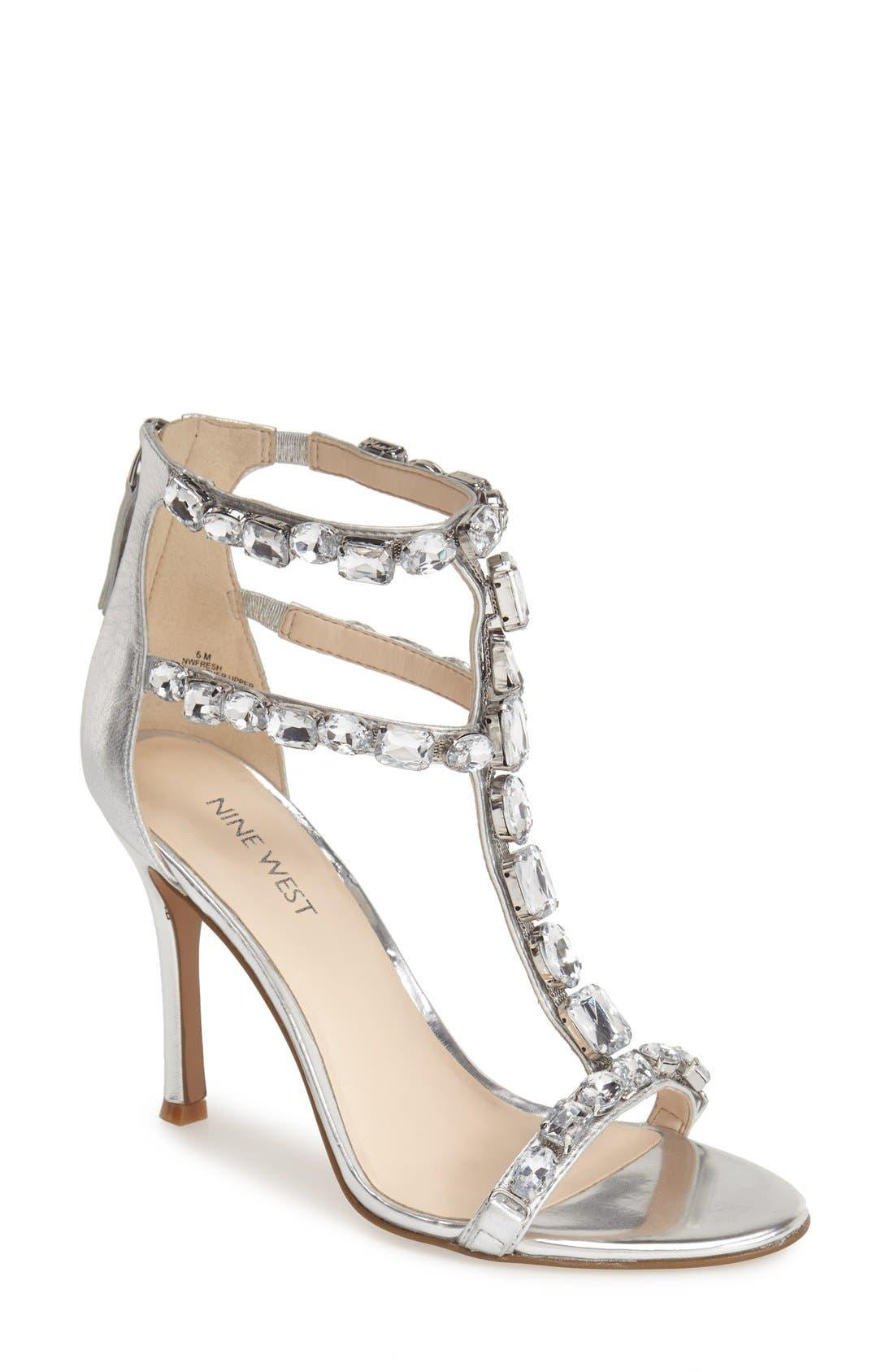 Alternate Image 1 Selected - Nine West 'Fresh' Crystal T-Strap Sandal (Women)