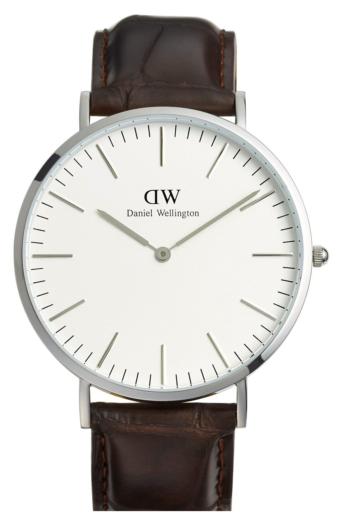 Alternate Image 1 Selected - Daniel Wellington 'Classic York' Leather Strap Watch, 40mm