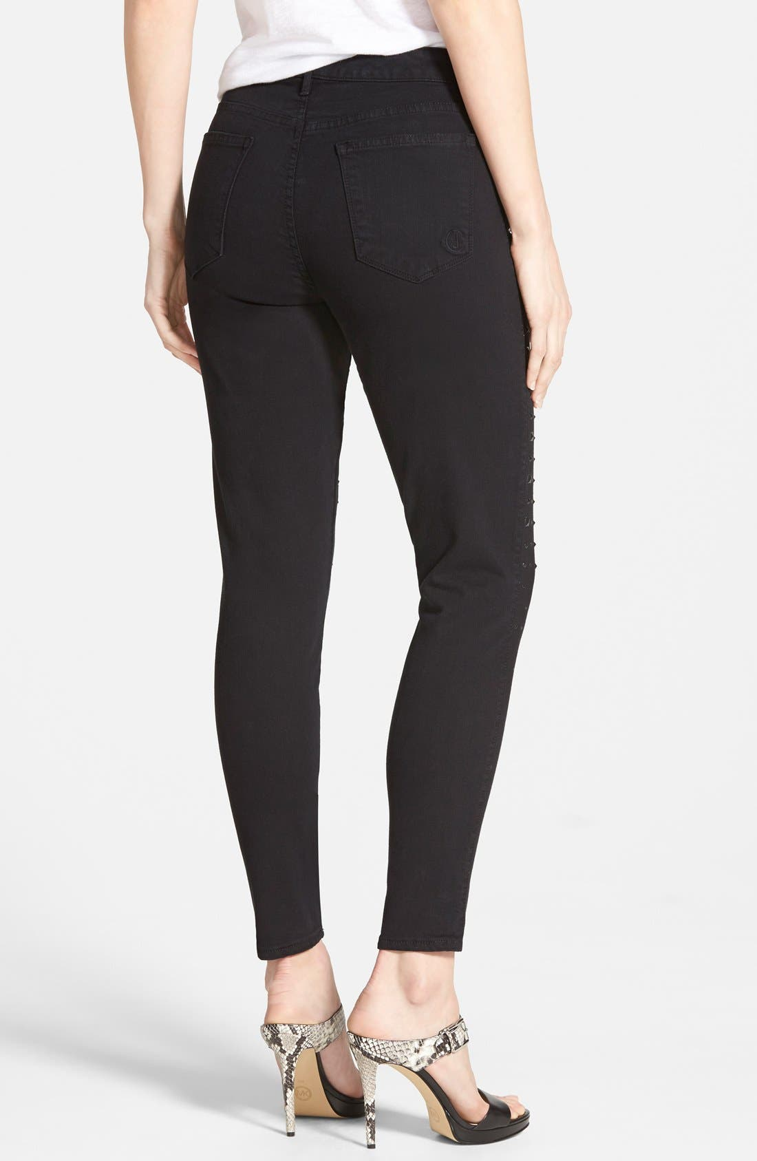 Alternate Image 2  - CJ by Cookie Johnson 'Wisdom' Studded Ankle Skinny Jeans (Black)