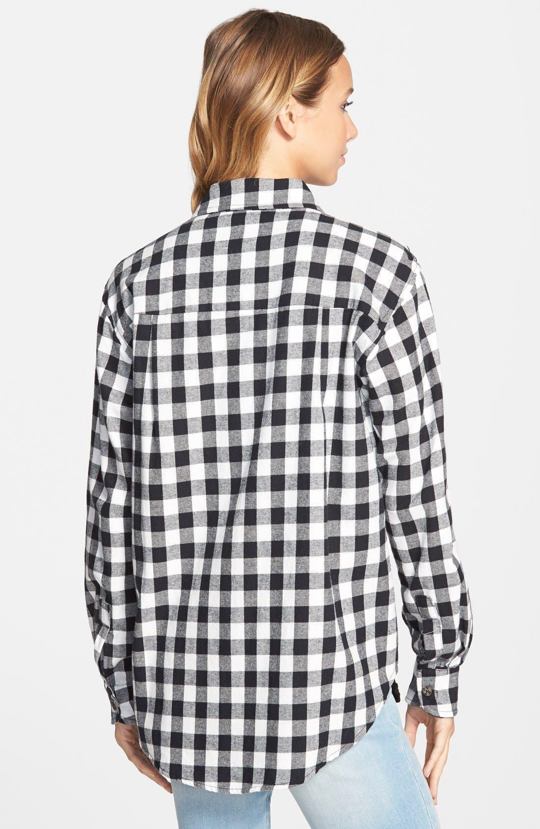 Alternate Image 2  - Mimi Chica Plaid Cotton Flannel Shirt (Juniors)