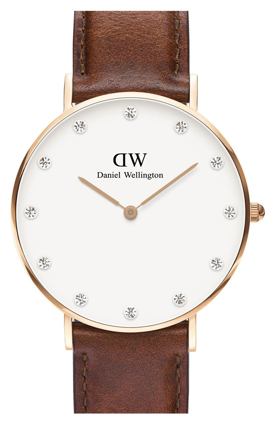 Main Image - Daniel Wellington 'Classy St. Mawes' Crystal Index Leather Strap Watch, 34mm