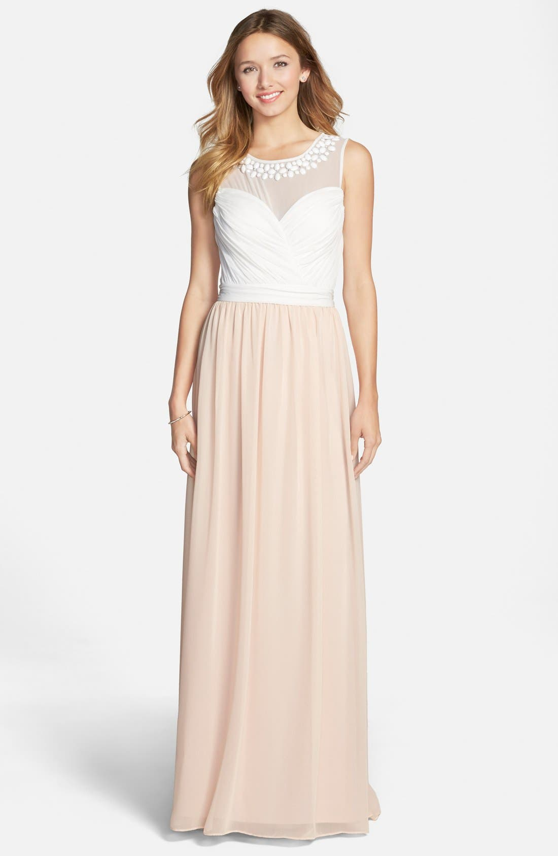 Main Image - Hailey by Adrianna Papell Embellished Two-Tone Chiffon Gown