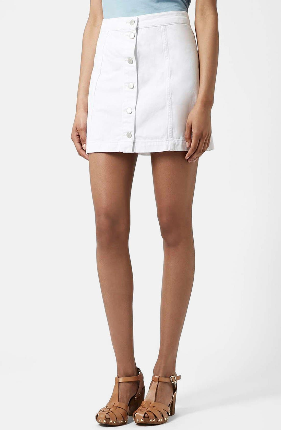 topshop moto button front denim skirt nordstrom