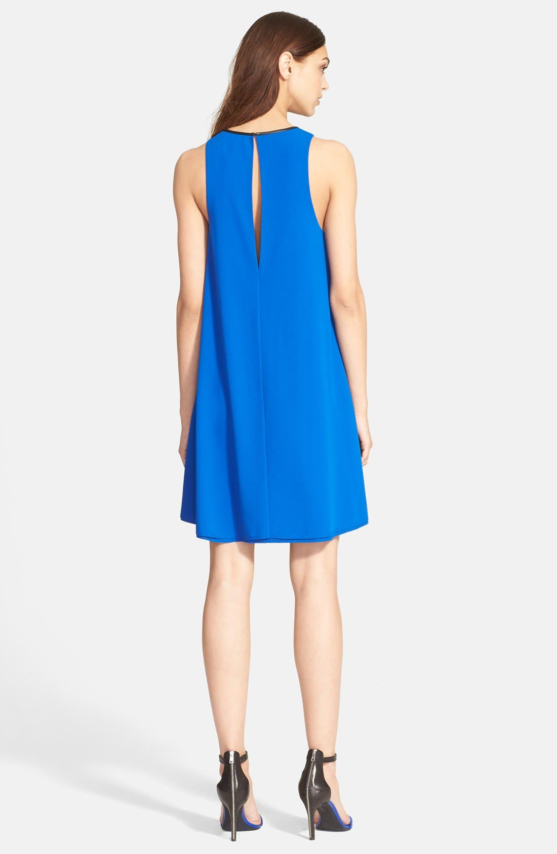 Alternate Image 2  - T by Alexander Wang Leather Trim Trapeze Crepe Dress