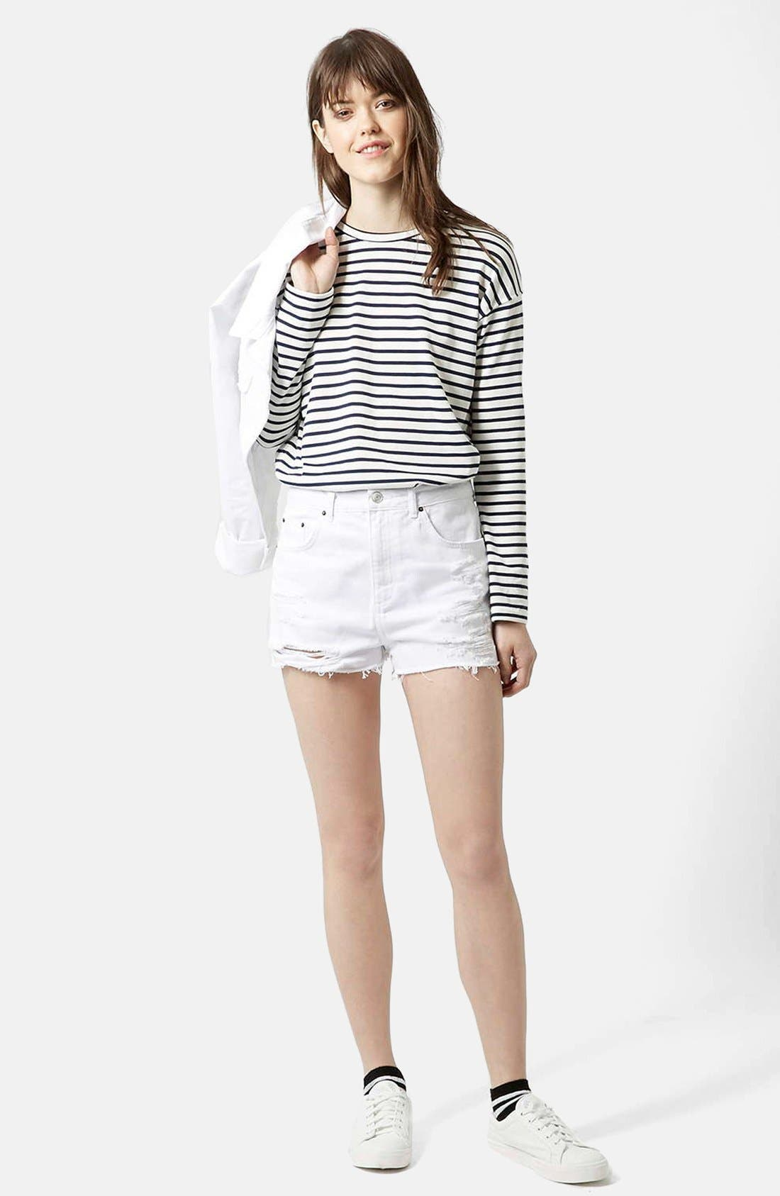 Alternate Image 5  - Topshop Moto White Denim Shorts