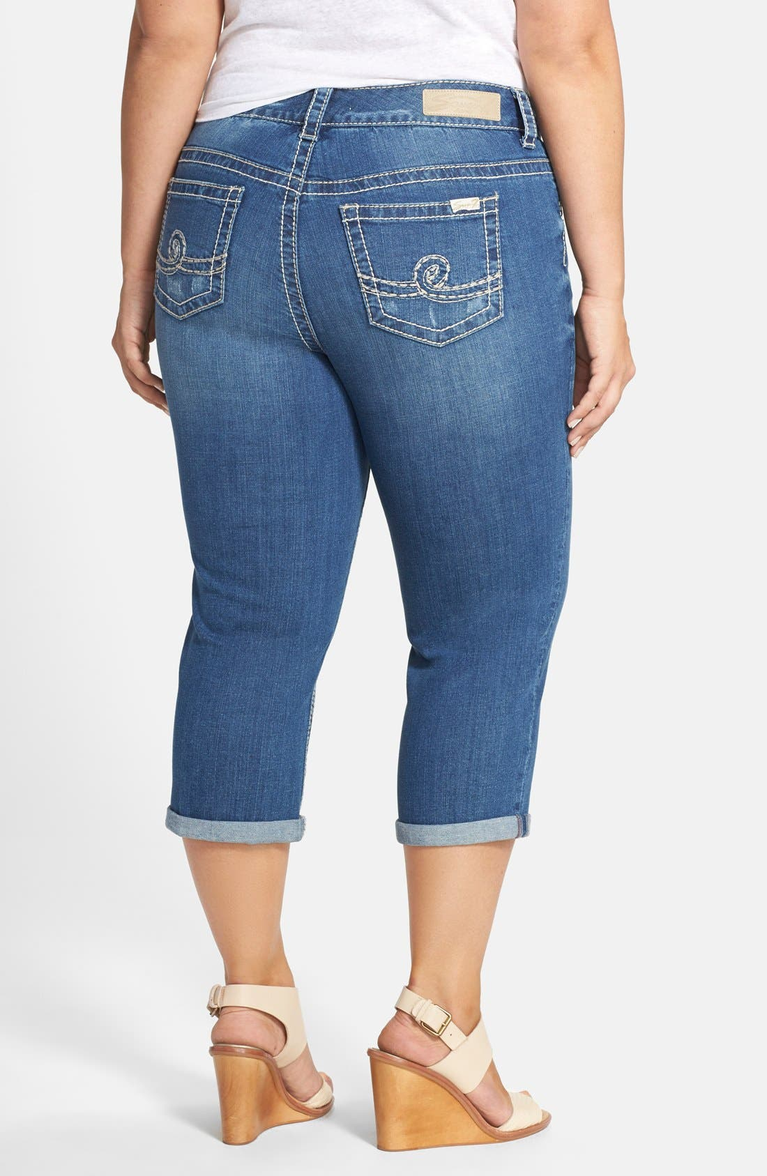 Alternate Image 2  - Seven7 Distressed Rolled Cuff Crop Skinny Jeans (Bishop) (Plus Size)