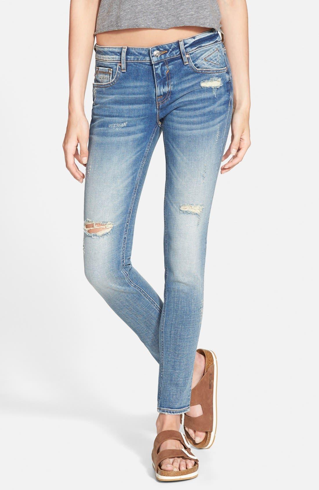 Alternate Image 1 Selected - Vigoss Distressed Skinny Jeans (Light Wash)