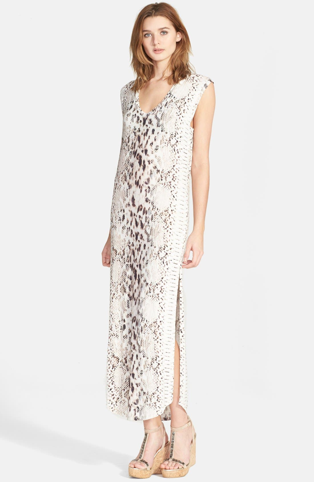 Main Image - Haute Hippie Snake Print Long V-Neck Muscle Dress