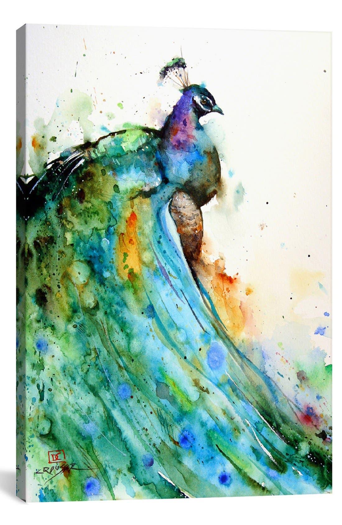 Alternate Image 1 Selected - iCanvas 'Peacock - Dean Crouser' Giclée Print Canvas Art