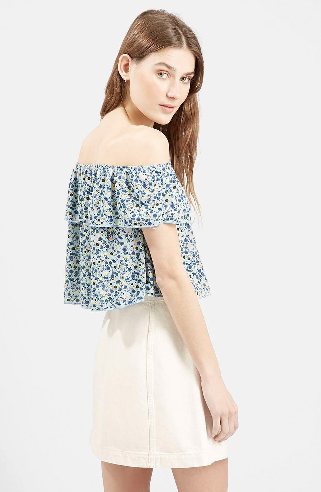 Alternate Image 3  - Topshop Floral Print Off the Shoulder Top