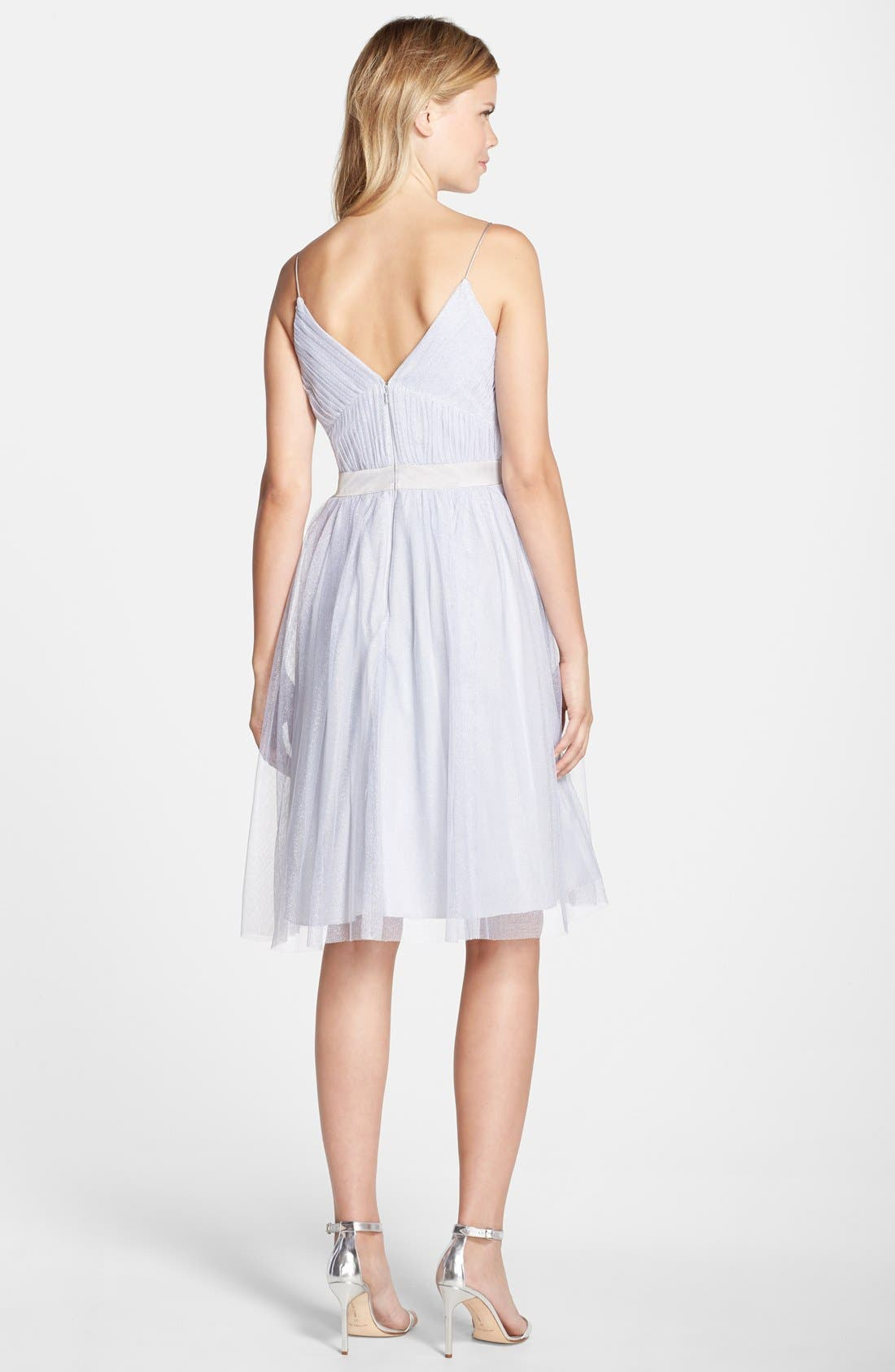 Alternate Image 2  - Aidan by Aidan Mattox Shimmer Mesh Fit & Flare Dress