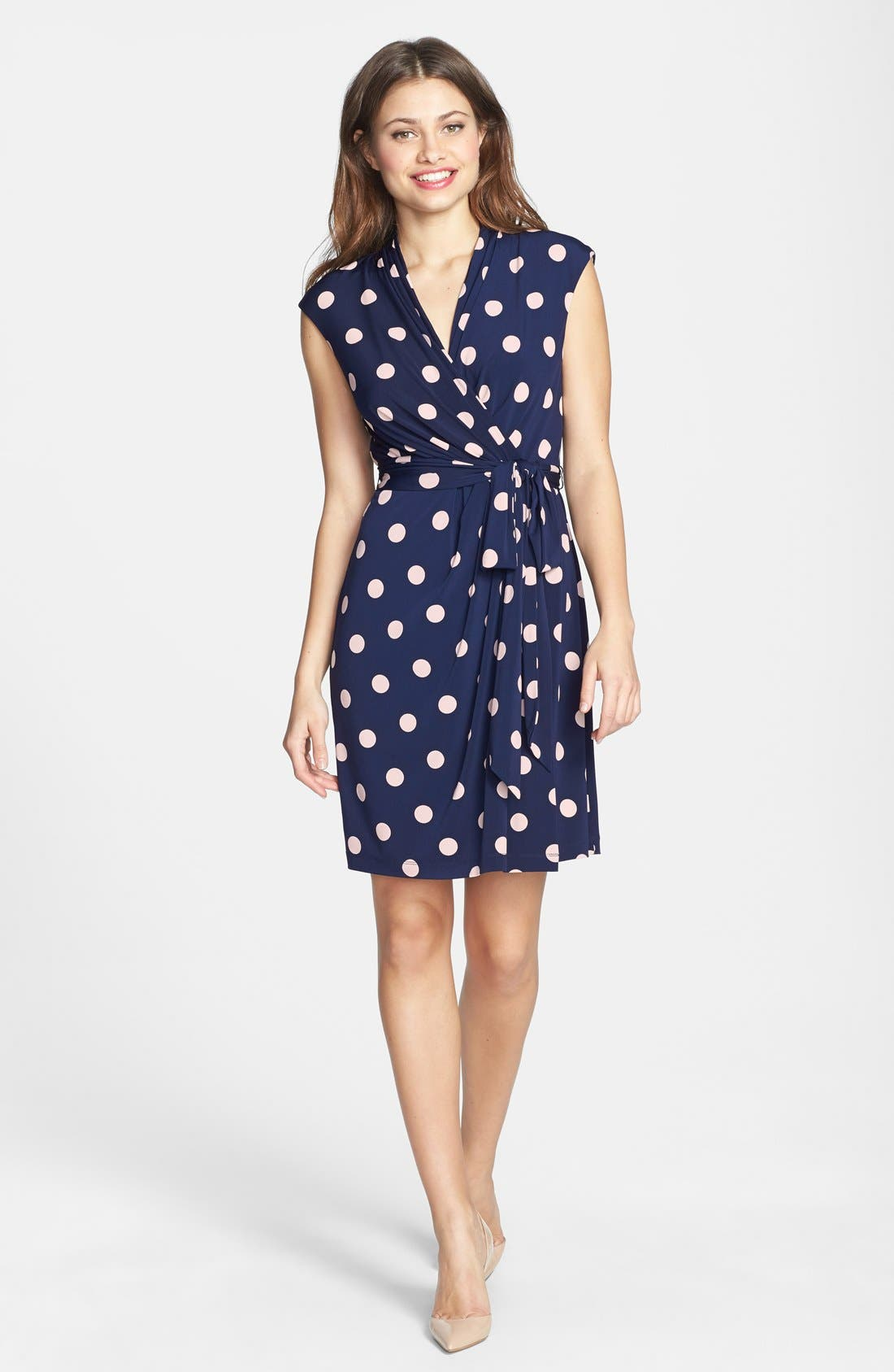 Alternate Image 3  - Eliza J Polka Dot Jersey Faux Wrap Dress (Regular & Petite)
