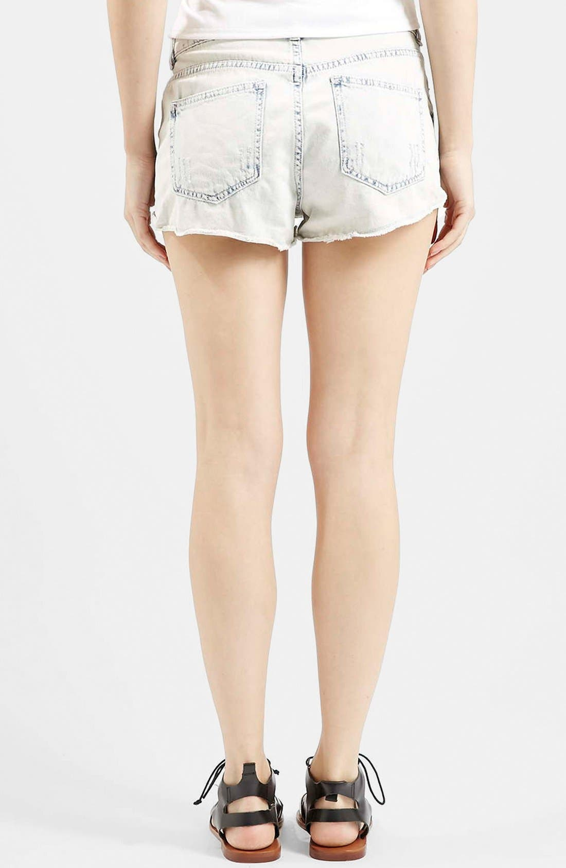 Alternate Image 2  - Topshop Moto 'Hallie' Bleach Cutoff Shorts (Light Denim) (Petite)