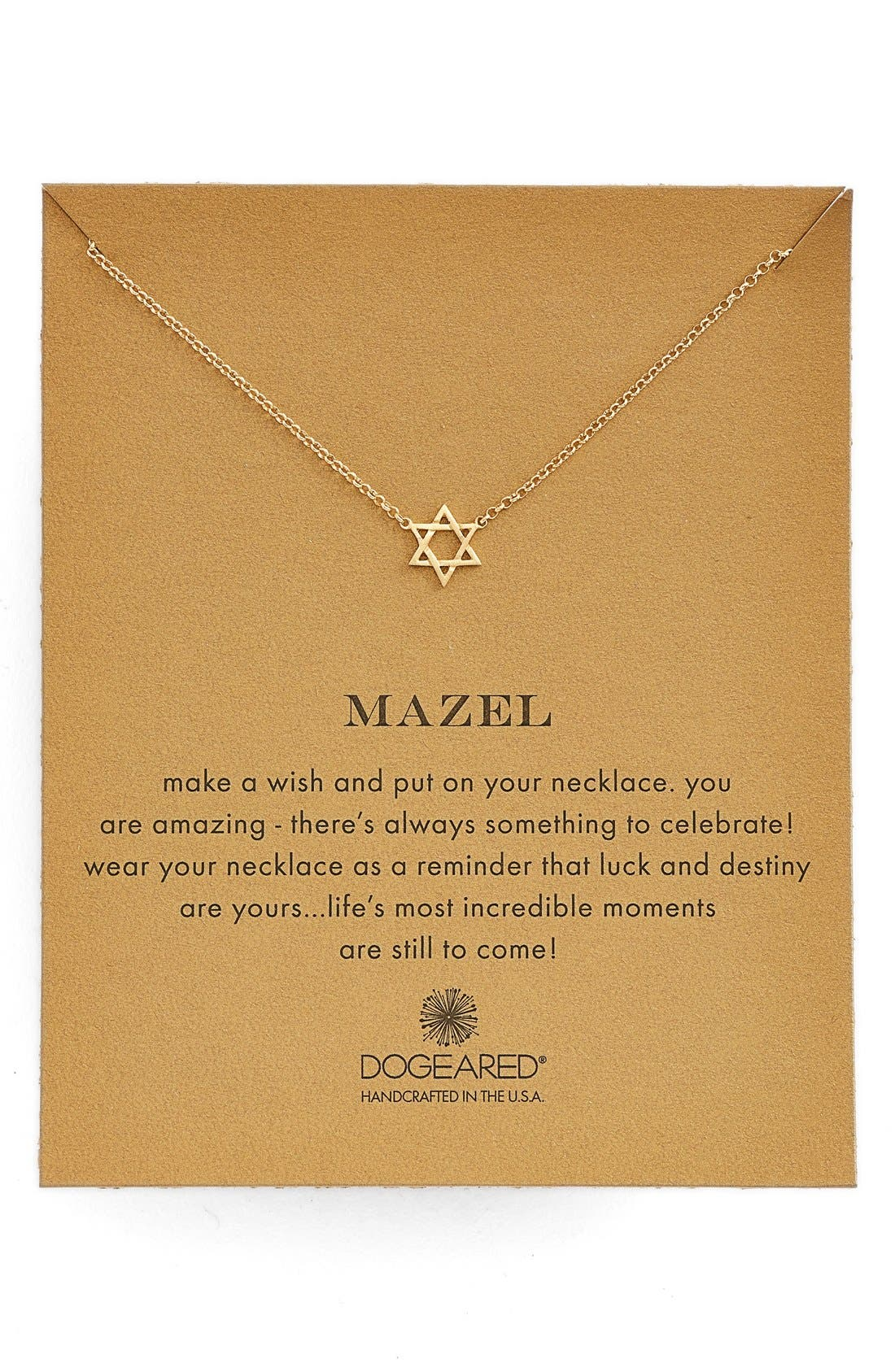 Main Image - Dogeared 'Mazel' Star of David Pendant Necklace