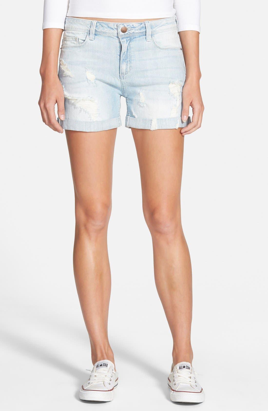 Main Image - SP Black Deconstructed Denim Shorts (Light Wash)