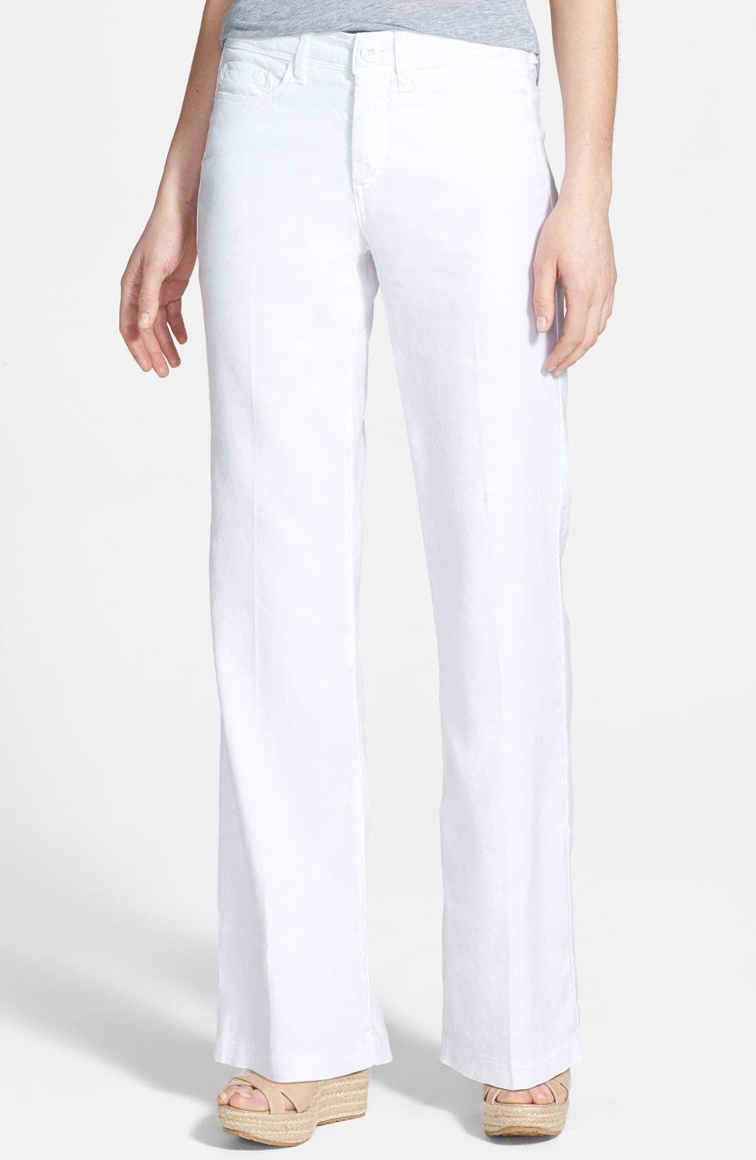 Alternate Image 1 Selected - NYDJ 'Wylie' Stretch Linen Trousers (Plus Size)